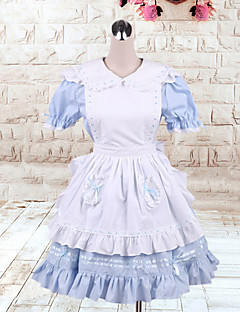 Nydelig Maid Kortermet knelang Blue & White Cotton Søt Lolita Dress