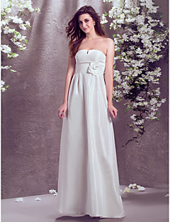 Vestido de Noiva - Marfim Justo Sem Alças Comprido Tafetá Tamanhos Grandes