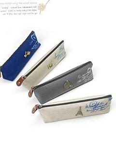 firkantet japansk og koreansk stil retro lærred slægter pen taske
