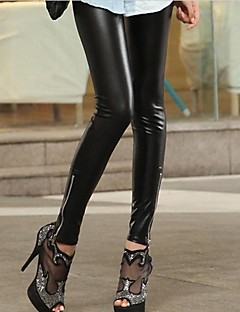 Leather Zip feminino Moda Skinny Leggings