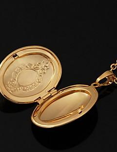 ペンダントネックレス ロケットネックレス 円形 幾何学形 銅 ゴールドメッキ 18K 金 コスチュームジュエリー ジュエリー 用途 結婚式