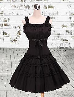 Высокой талией Стиль рукавов длиной до колен черный хлопок Классический Лолита платье