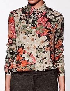 פרחוני צווארון חולצה פשוטה יום יומי\קז'ואל חולצה נשים,אביב / קיץ / סתיו שרוול ארוך צבעוני דק