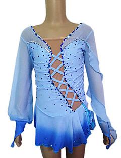 Girl's Blue Spandex Long Sleeve Figure Skating Dress(Assorted Size)