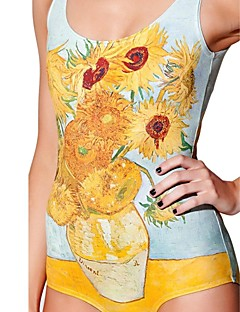 Van Gogh Sunflowers One Piece Spandex Swim Suit
