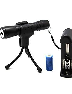 ZLS819 Flashlight Shaped Zoom Light Match Waterproof Green Laser Pointer(5MW,532nm,1x16340,Black)