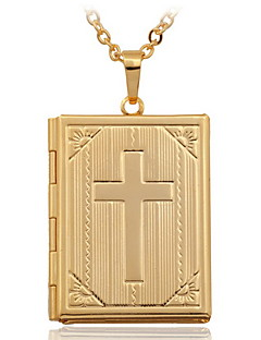 女性 ペンダントネックレス ロケットネックレス クロス 銅 ゴールドメッキ 18K 金 ファッション コスチュームジュエリー ジュエリー 用途 結婚式