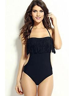 Frauen solid black einteilige Badebekleidung, halter Quaste