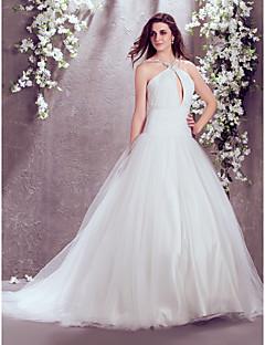 Fit & Flare Wedding Dress - Ivory Court Train High Neck Chiffon/Tulle