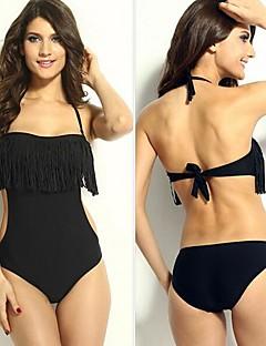Women's Solid Black One Piece Swimwear,Halter Tassel