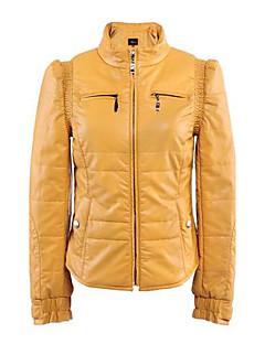 Women's  PU Leather Zip  Short Coat