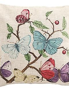 """Createforlife ® 18 """"x 18"""" Papillons carrés sur la branche d'arbre en coton / lin coussin décoratif"""