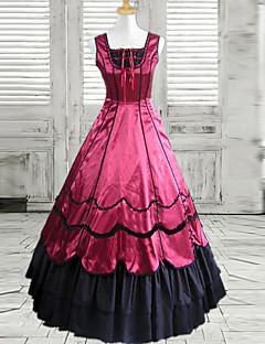 Uma-Peça/Vestidos Lolita Clássica e Tradicional Lolita Cosplay Vestidos Lolita Preto / Vermelho Vinho Patchwork Sem MangasComprimento