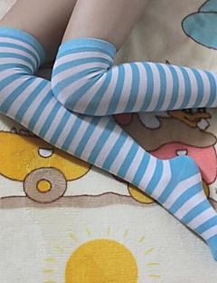 Sweet School Girl Blue & White Nylon Sailor Lolita Over-knee Stockings