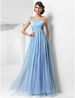 TS Couture® Prom / Military Ball / Formal Evening Dress - Sky Blue Plus Sizes / Petite A-line / Princess One Shoulder Floor-length Chiffon / Tulle