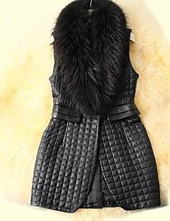 Women's Fashion Leisure Raccoon Fur Collar Fur Vest