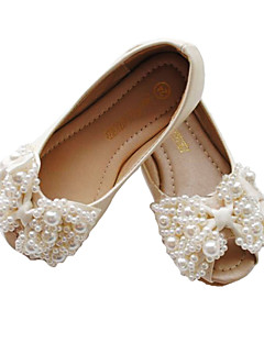 Girls' Shoes Peep Toe Flat Heel Leather Flats with Bowknot Shoes