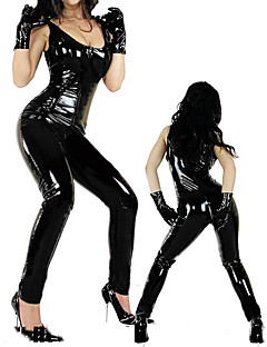 Hot Women Black PVC Bodysuit With Zipper Sexy Uniform