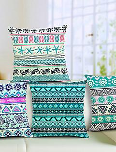 set om 4 snygga geometriska bomull / linne dekorativa örngott