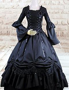 Long Sleeve Floor-length Black Cotton Gothic Lolita Dress