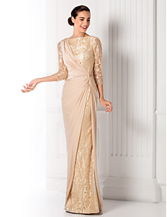 Prom/Military Ball/Formal Evening Dress - Champagne Sheath/Column Bateau Floor-length Jersey/Lace