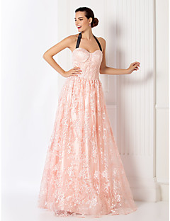 Formal Evening / Prom / Military Ball Dress - Pearl Pink Plus Sizes / Petite A-line Halter Floor-length Lace