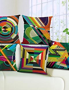 lot de 5 coloré géométrique coton / lin taie d'oreiller décoratif