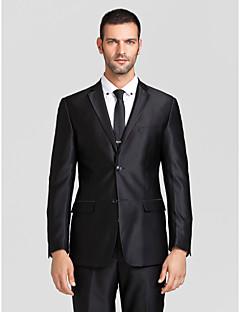 Suit Kişiye Özel Kalıp Dar Zirve Tek Sıra Düğmeli İki Düğme Polyester 2 Parça Siyah Düz Kapak Yok (Düz Cephe) Yok (Düz Cephe)