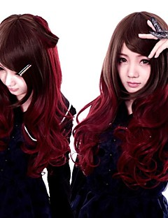 Zipper Vampire Brown And Red Mixed Long Curly Gothic Lolita Wig
