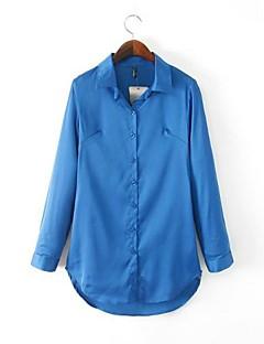 여성의 솔리드 긴 소매 셔츠,심플 신사화 블루 / 레드 봄 / 가을 / 겨울 중간
