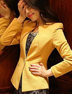 Dámské Jednobarevné Velké velikosti Kabát-Polyester Podzim Dlouhý rukáv Bílá / Černá / Žlutá Střední