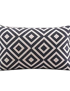 svart och vit rutig bomull / linne dekorativa örngott