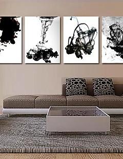 Kunstdruk op gespannen doek kunst abstract de inkt in het water set van 4