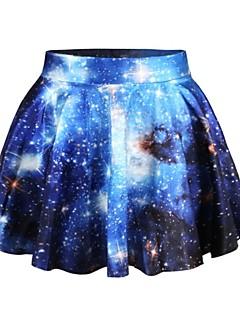 PinkQueen Women's Spandex Blue Galaxy Print Pleated  Skirt