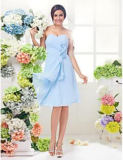Vestido de Dama de Honor - Azul cielo Corte A Escote Corazón - Hasta la Rodilla Georgette