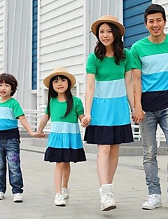 Family's Fashion Joker Leisure Parent Child Short Sleeves Bohemia T Shirt And Dress