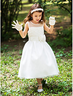 Flower Girl Dress - Trapezio Lunghezza tè Seta