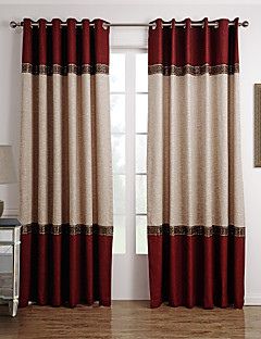 Two Panels Beige / Red Solid Polyester Panel