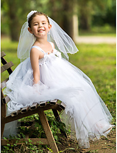 A-line Spaghetti Straps Ankle-length Rayon Flower Girl Dress