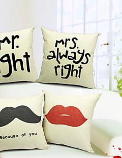 ensemble de 4 m&mrs coton / lin taie d'oreiller décoratif
