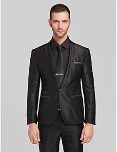 zwarte polyester getailleerd model tweedelig pak