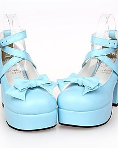 PU Leather 8CM High Heel Sweet Lolita Shoes With Row