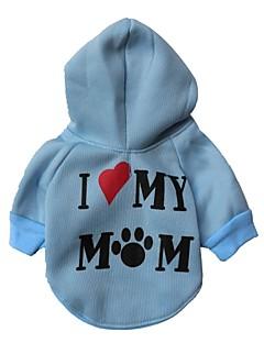 猫用品 / 犬用品 パーカー レッド / ブルー / ホワイト / ピンク / グレー 犬用ウェア 冬 文字&番号