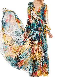 boho azul vestido das mulheres / amarelo, impressão / maxi surplice pescoço manga longa balanço