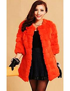 03.04 manga de la chaqueta de piel de conejo sin cuello casual / partido (más colores)