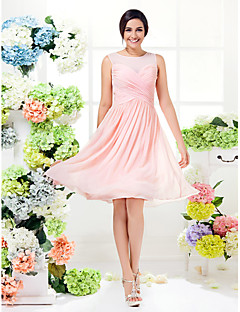 A-Line Jewel Neck Knee Length Georgette Bridesmaid Dress with Criss Cross by LAN TING BRIDE®