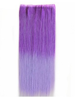 Colorful Ombre Clip In Hair Extensions Straight Synthetic Hair Pieces 5Clips 22Inch For Women