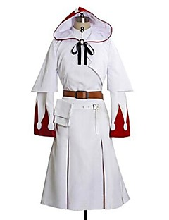 Inspirirana Final Fantasy White Mage Video igra Cosplay nošnje Cosplay Suits Print Bijela Dugi rukav Haljina / Shawl / Pojas / Bag