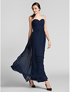 Lanting Bride® Floor-length Chiffon Bridesmaid Dress - Sheath / Column SweetheartApple / Hourglass / Inverted Triangle / Pear / Plus Size