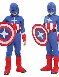 Captain America Blue & Red Polyester Kids' Halloween Costume